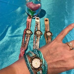 Accessories - Leather Wrap Watches Braided w Colored Crystals